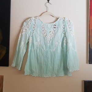 Dolce Vita sheer aqua lace blouse